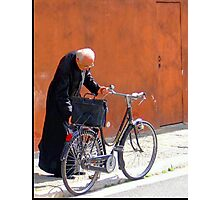 A Priest And His Bicycle. Photographic Print