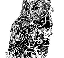 Inked Up Owl by cupofmoriartea