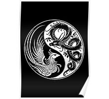 White and Black Dragon Phoenix Yin Yang Poster