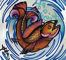 happy fish tattoo art by resonanteye