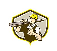 Carpenter Carry Lumber Thumbs Up Shield by patrimonio