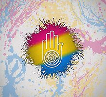 Pansexual Pride Ahimsa Hand by LiveLoudGraphic