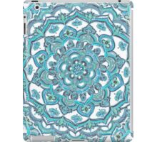 Summer Bloom - floral doodle pattern in turquoise & white iPad Case/Skin