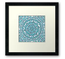 Summer Bloom - floral doodle pattern in turquoise & white Framed Print