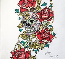 Skull and roses by Thoricartist