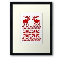 Moose Pattern Christmas Sweater Framed Print