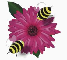 Cartoon Honey Bees Meeting on Pink Flower by Gravityx9