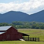 Barn and Blue Ridge Mountains by Karen Checca