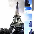 Eiffel Tower Blue Photo Collage by stine1