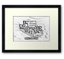 Willys World War Two Jeep Illustration Framed Print