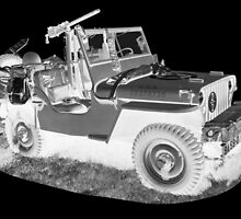 Black And White Willys World War Two Army Jeep by KWJphotoart