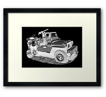 Black And White Willys World War Two Army Jeep Framed Print