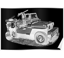 Black And White Willys World War Two Army Jeep Poster