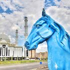 Blue Horse in Astana Kazakhstan by Kadwell