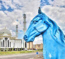 Blue Horse in Astana Kazakhstan by Kadwell