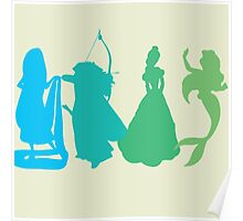 Princess Silhouettes - Blue and Green Poster