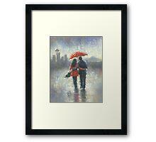 SEATTLE LOVERS IN THE RAIN Framed Print