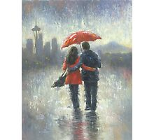 SEATTLE LOVERS IN THE RAIN Photographic Print