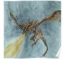 Elder Dragon Watercolor and Ink Painting Poster