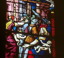 Slaughter of the Innocents C16 glass Cathedral St Etienne Chalons sur Marne France 198405060062  by Fred Mitchell