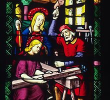 Mary Jesus and Joseph in Carpenters shop Cathedral St Etienne Chalons sur Marne France 198405060063 by Fred Mitchell