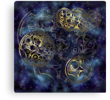 Spacey Tardis Circular Gallifreyan design  Canvas Print