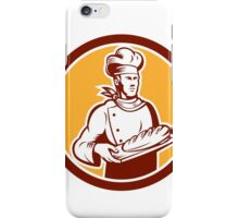 Chef Cook Holding Bread Woodcut Retro iPhone Case/Skin