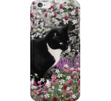 Freckles in Flowers II - Tuxedo Cat iPhone Case/Skin