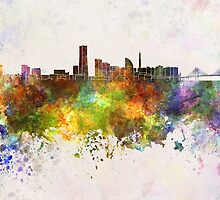 Yokohama skyline in watercolor background by paulrommer