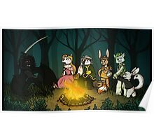 Campfire and Fireflies Poster
