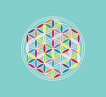 Flower of Life – Multicoloured on Blue by NataliePaskell