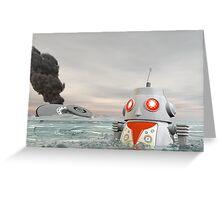 Robot Crash at Sea Greeting Card