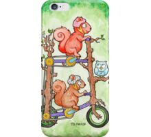 2 Squirrels on a Tall Bike Watercolor iPhone Case/Skin