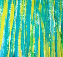 Abstract Chartreuse & Teal Brushstrokes by art-by-micki