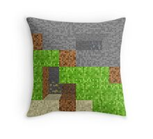 Minecraft Inspired Pixel Art Play Area Throw Pillow