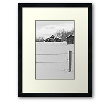 Shacks Winter Scene Framed Print