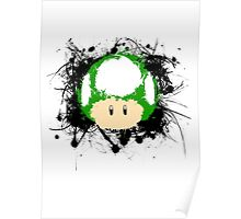 Abstract Paint Splatter 1up Mushroom Poster