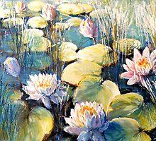 Morning on waterlily pond by Roman Burgan