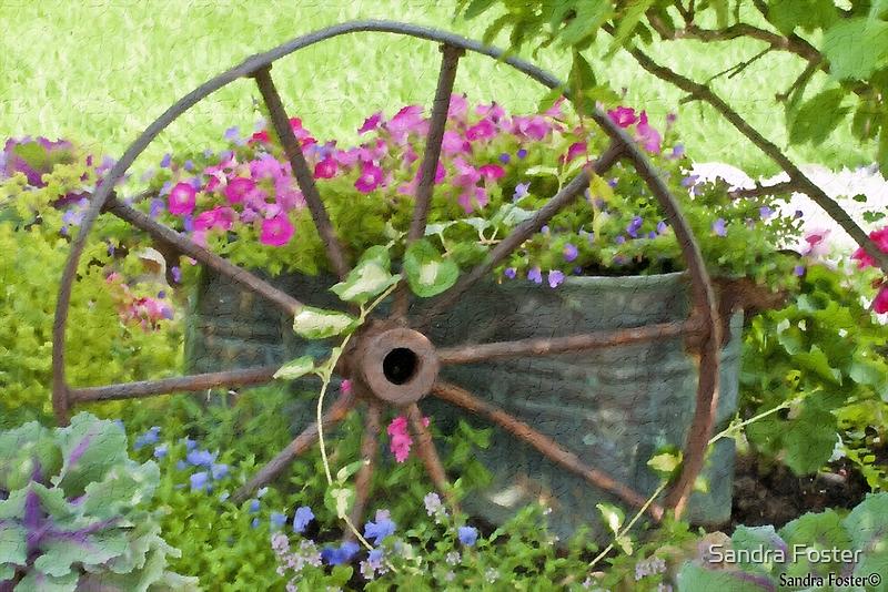 Vintage Wheel Garden Scene - Digital Oil  by Sandra Foster