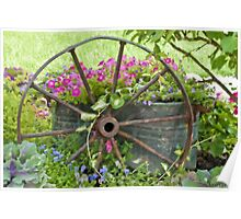 Vintage Wheel Garden Scene - Digital Oil  Poster