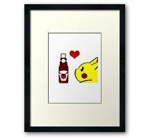 Pikachu and his Ketchup <3 Framed Print