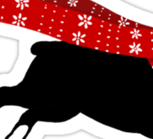 Holiday Boston Terrier Wearing Winter Scarf Sticker