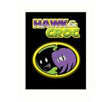 Hawk & Croc Lock-On shirt Art Print