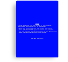Blue Screen Of Death Canvas Print