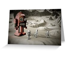 Thunder Robot and Toy Spacemen Retro Styled Greeting Card