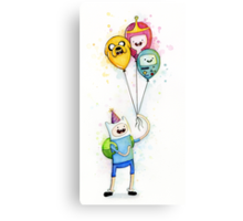 Finn with Birthday Balloons Jake Princess Bubblegum BMO Canvas Print