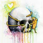 Jake Hugging Skull Adventure Art Watercolor by OlechkaDesign