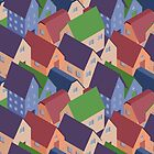 Abstract houses seamless pattern by Xinnie