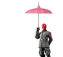 red skull with umbrella by sherlokian