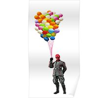 red skull with balloons Poster